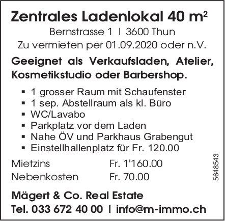 Zentrales Ladenlokal 40 m2, Thun, zu vermieten