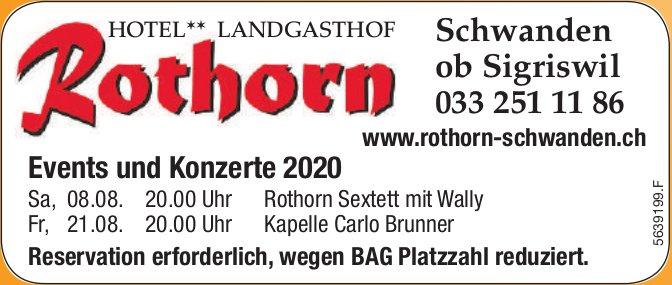 Events und Konzerte 2020, Landgasthof Rothorn, Schwanden ob Sigriswil