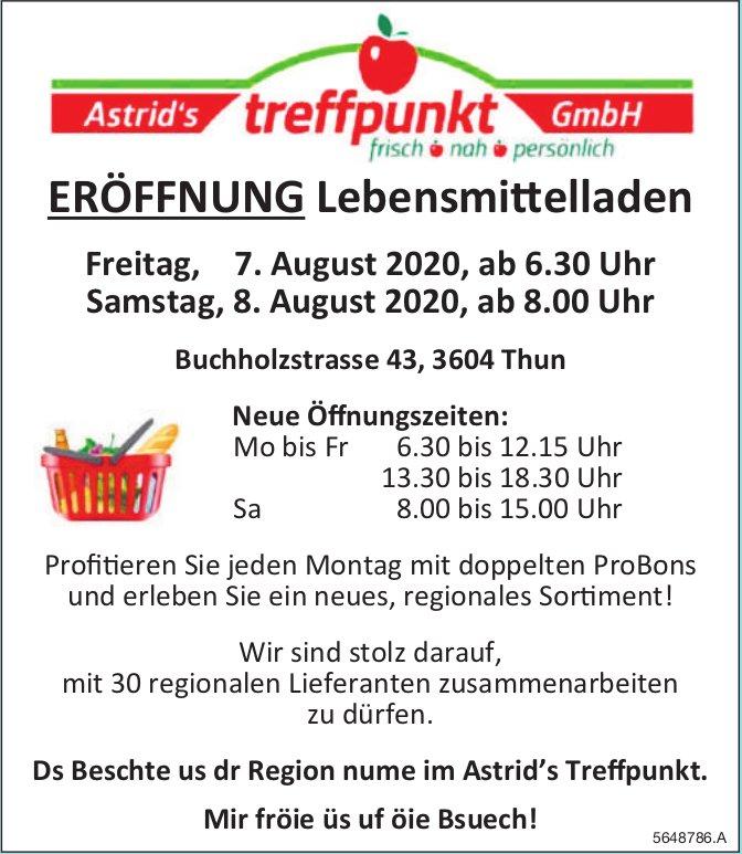 ERÖFFNUNG Lebensmittelladen, 7. + 8. August, Astrid's Treffpunkt GmbH, Thun