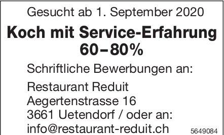 Koch mit Service-Erfahrung 60–80%, Restaurant Reduit, Uetendorf,  gesucht