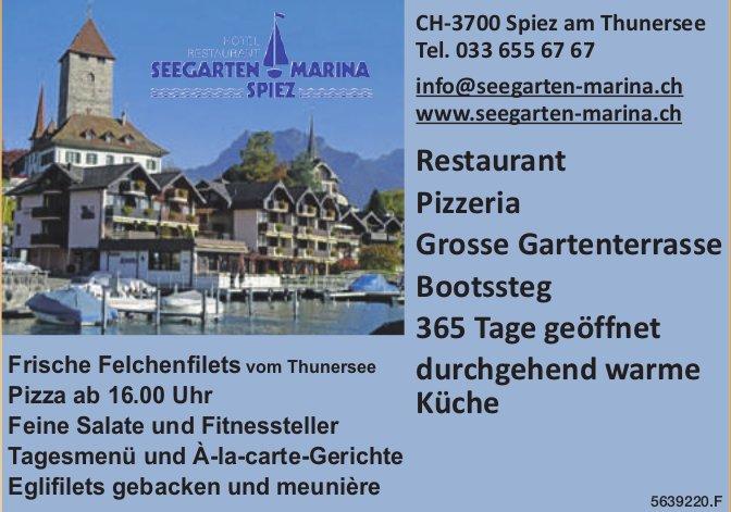 Seegarten Marina Spiez - Restaurant, Pizzeria, Grosse Gartenterrasse, Bootssteg