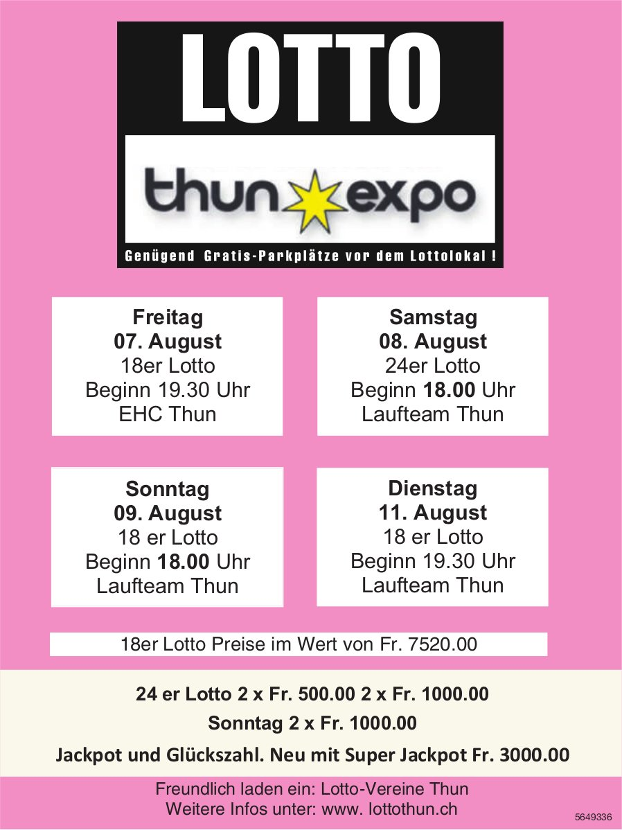 Lotto Thun Expo, 7./8./9./11. August