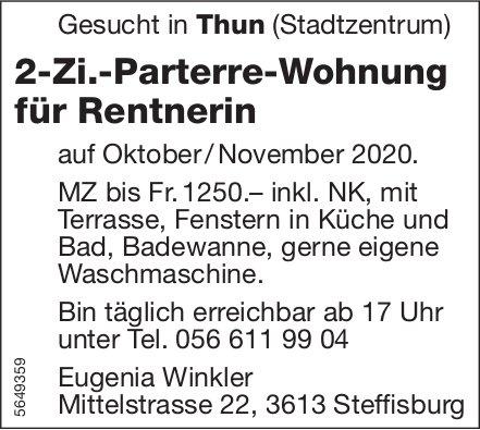 2-Zi.-Parterre-Wohnung für Rentnerin, Thun, zu mieten gesucht