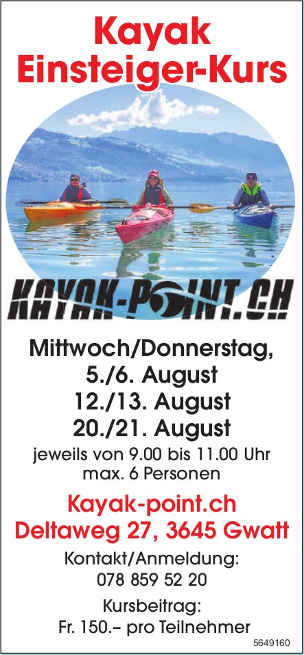 Kayak Einsteiger-Kurs, ab 5. August, Kayak-point.ch, Gwatt