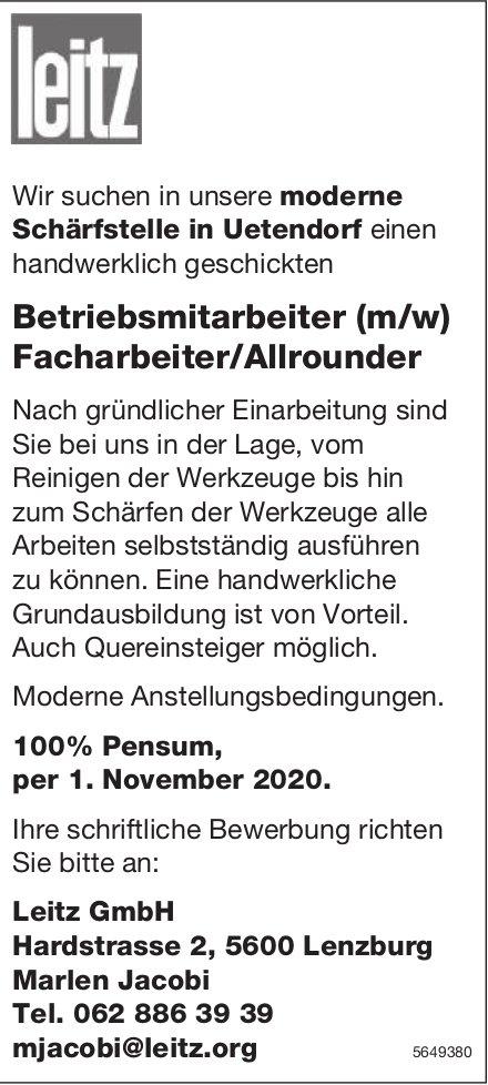 Betriebsmitarbeiter(m/w) Facharbeiter/Allrounder, Leitz Gmbh, Lenzburg,  gesucht