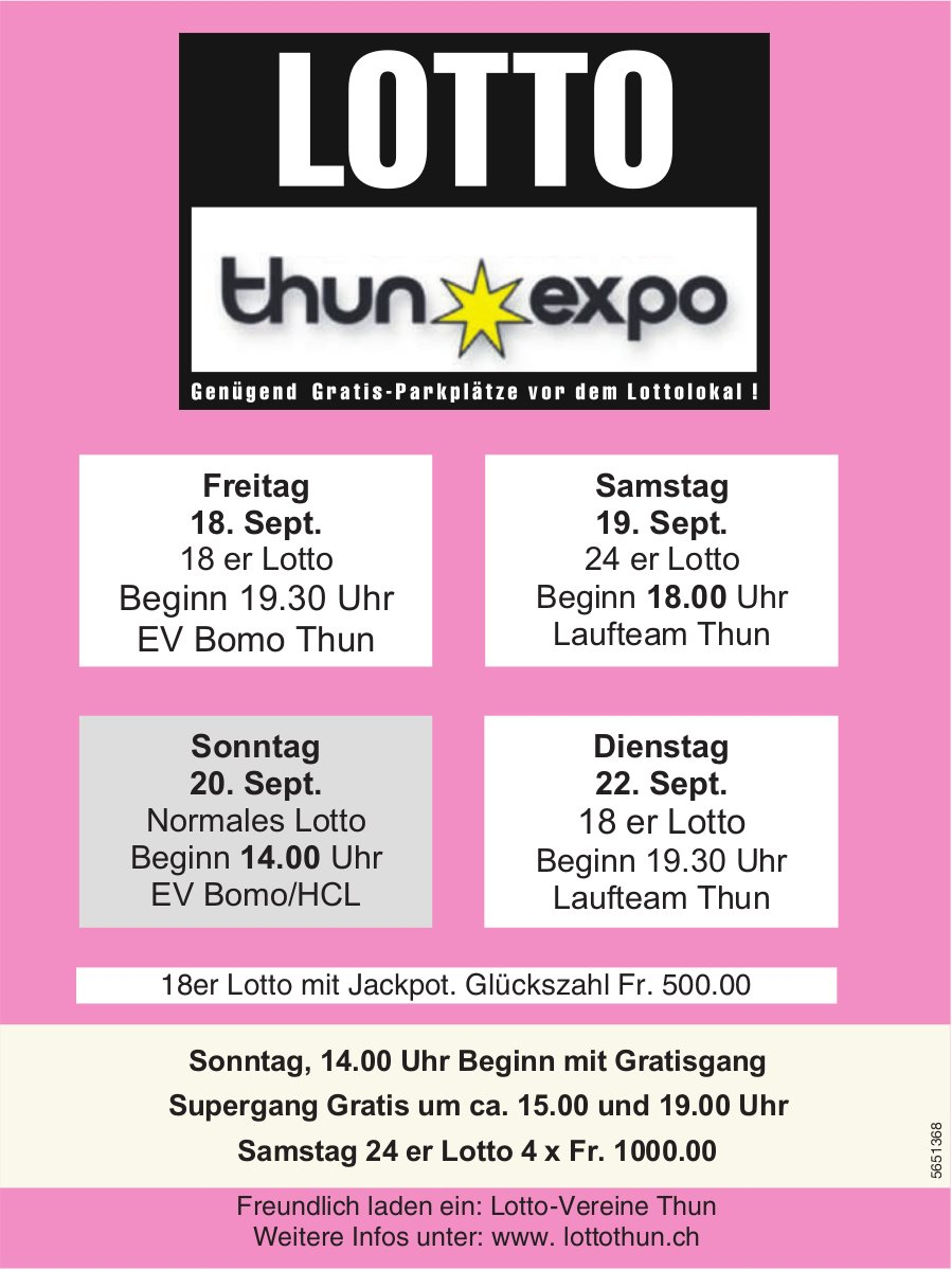 LOTTO Thun Expo,  18./19./20./22. September, Lotto-Vereine Thun