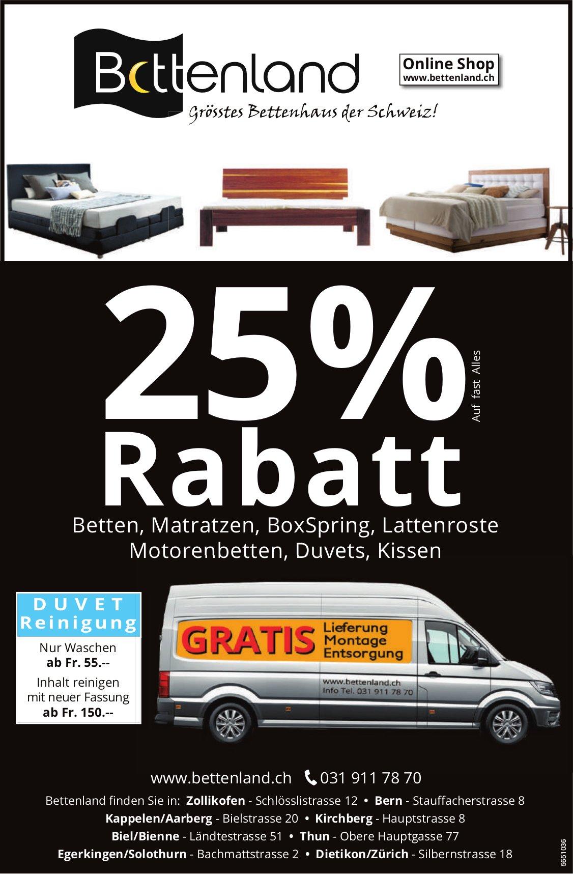 Bettenland, 25% Rabatt auf Betten, Matratzen, BoxSpring, Lattenroste...
