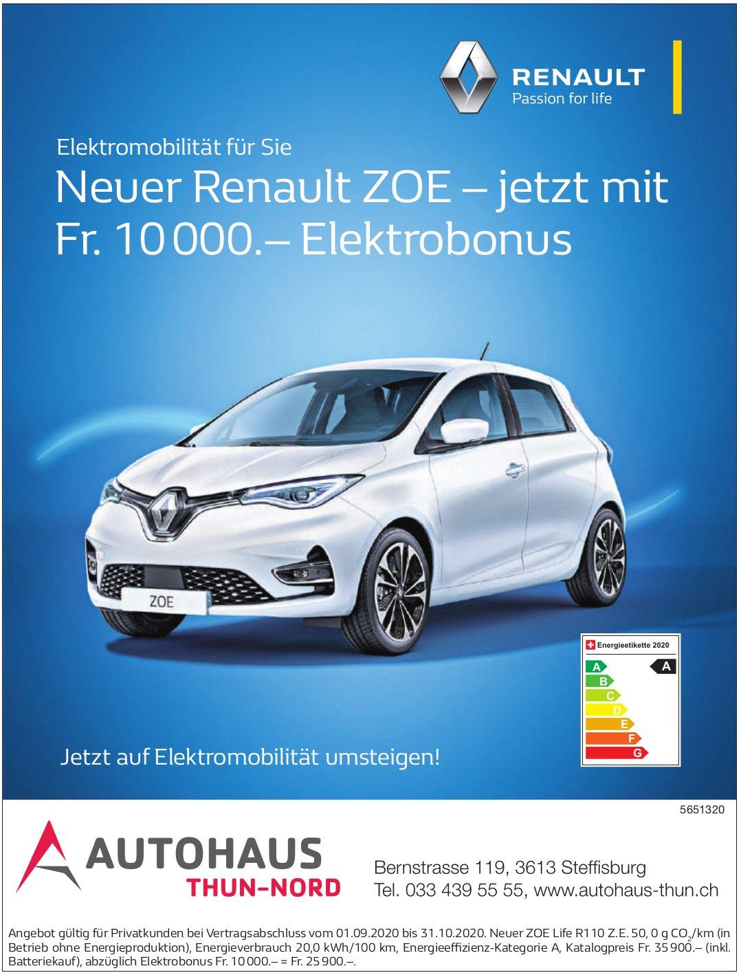 Autohaus-Thun, Steffisburg - Neuer Renault Zoe – jetzt mit Fr. 10 000.– Elektrobonus