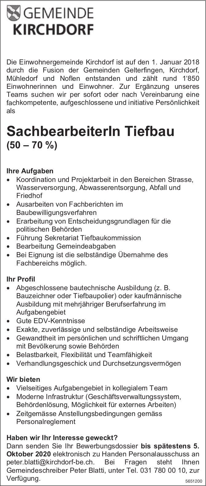 SachbearbeiterIn Tiefbau, Gemeinde, Kirchdorf,  gesucht