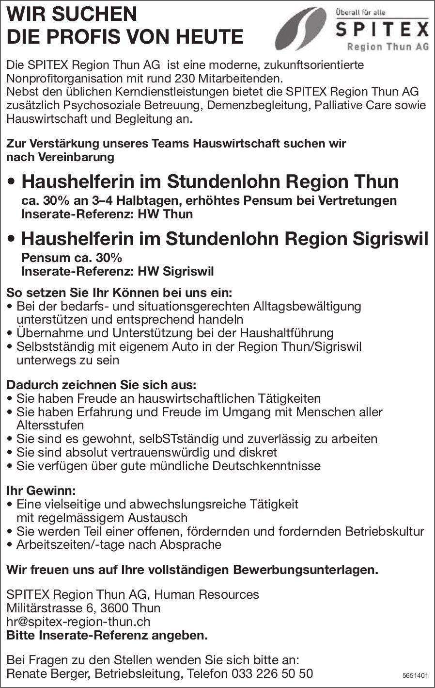 Haushelferin im Stundenlohn Region Thun & Region Sigriswil, Spitex Region Thun AG, gesucht