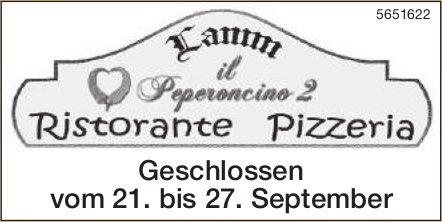 Lannn il Peperocino 2 Pizzeria - Geschlossen vom 21. bis 27. September