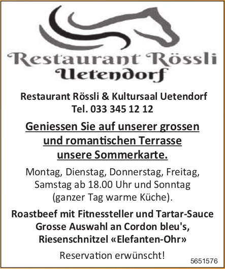 Restaurant Rössli Uetendorf - Geniessen Sie unsere Sommerkarte.