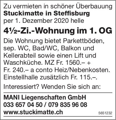 4½ Zimmer-Wohnung, Überbauung Stuckimatte in Steffisburg, zu vermieten