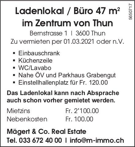 Ladenlokal / Büro 47 m im Zentrum von Thun, zu vermieten