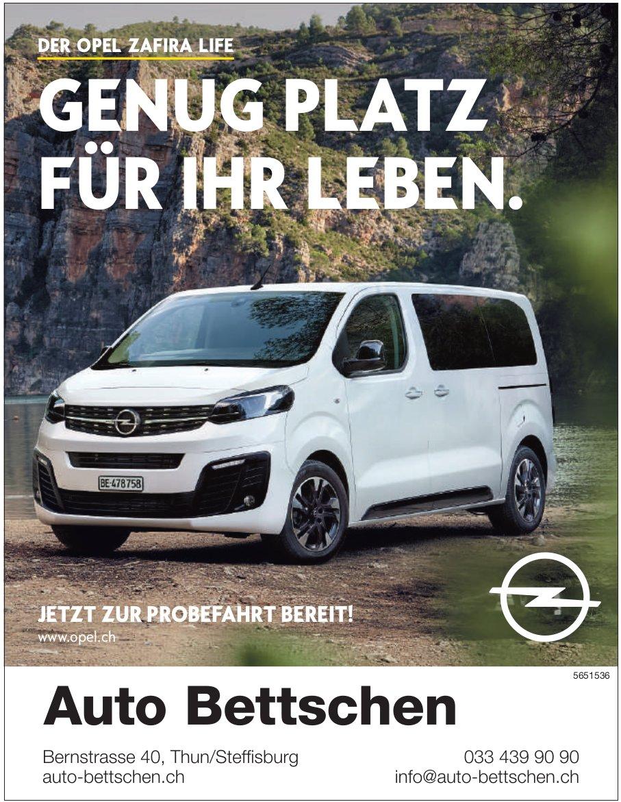 Auto Bettschen - Der Opel Zafira Life: Genug Platz für Ihr Leben.