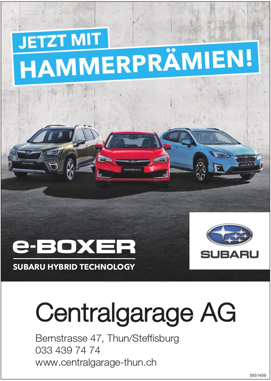 Centralgarage AG - e-Boxer Subaru Hybrid Technology: Jetzt Hammerprämien!