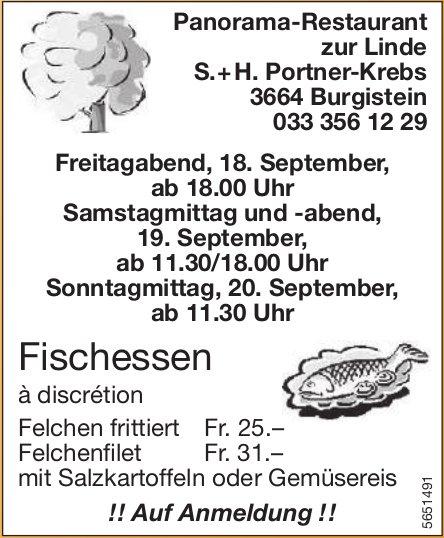 Fischessen à discrétion, 18./19./20. September, Panorama-Restaurant zur Linde, Burgistein