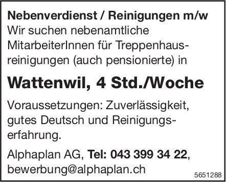 Nebenverdienst/Reinigungen m/w, Alphaplan AG, Wattenwil, zu vergeben