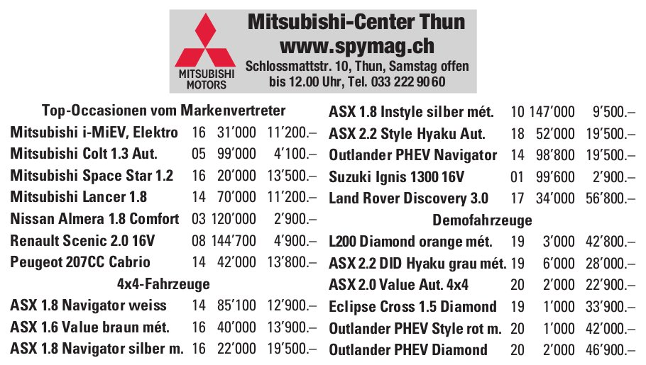 Spymag Mitsubishi-Center Thun, Occasionenmarkt