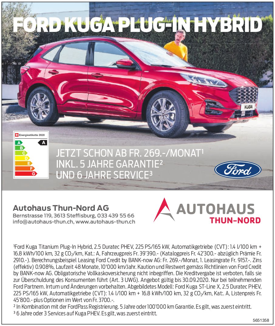 Autohaus Thun-Nord AG, Steffisburg - Ford Kuga Plug-In Hybrid