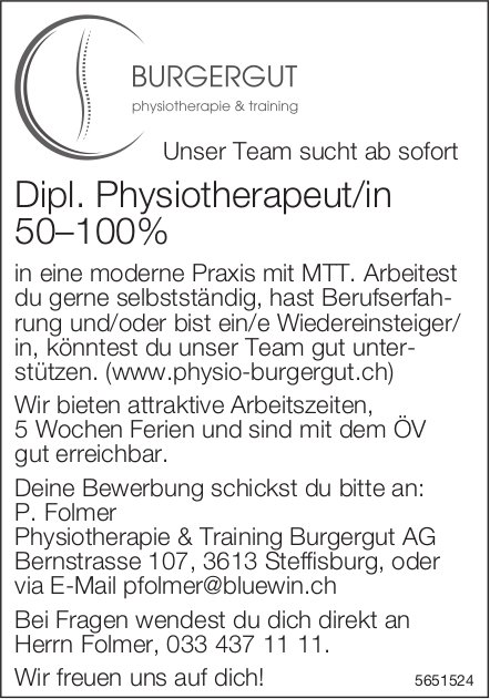 Dipl. Physiotherapeut/in 50–100%, Physiotherapie & Training Burgergut AG, Steffisburg, gesucht