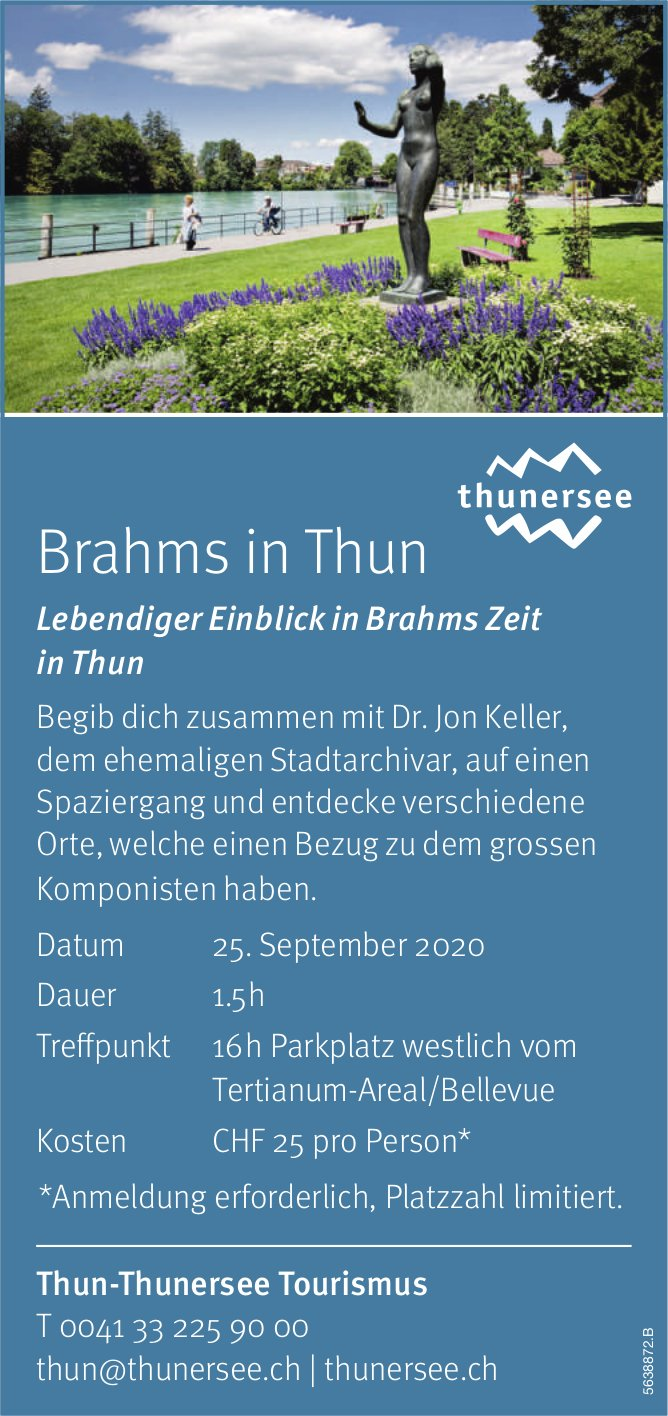Brahms in Thun, 25. September, Thun-Thunersee Tourismus