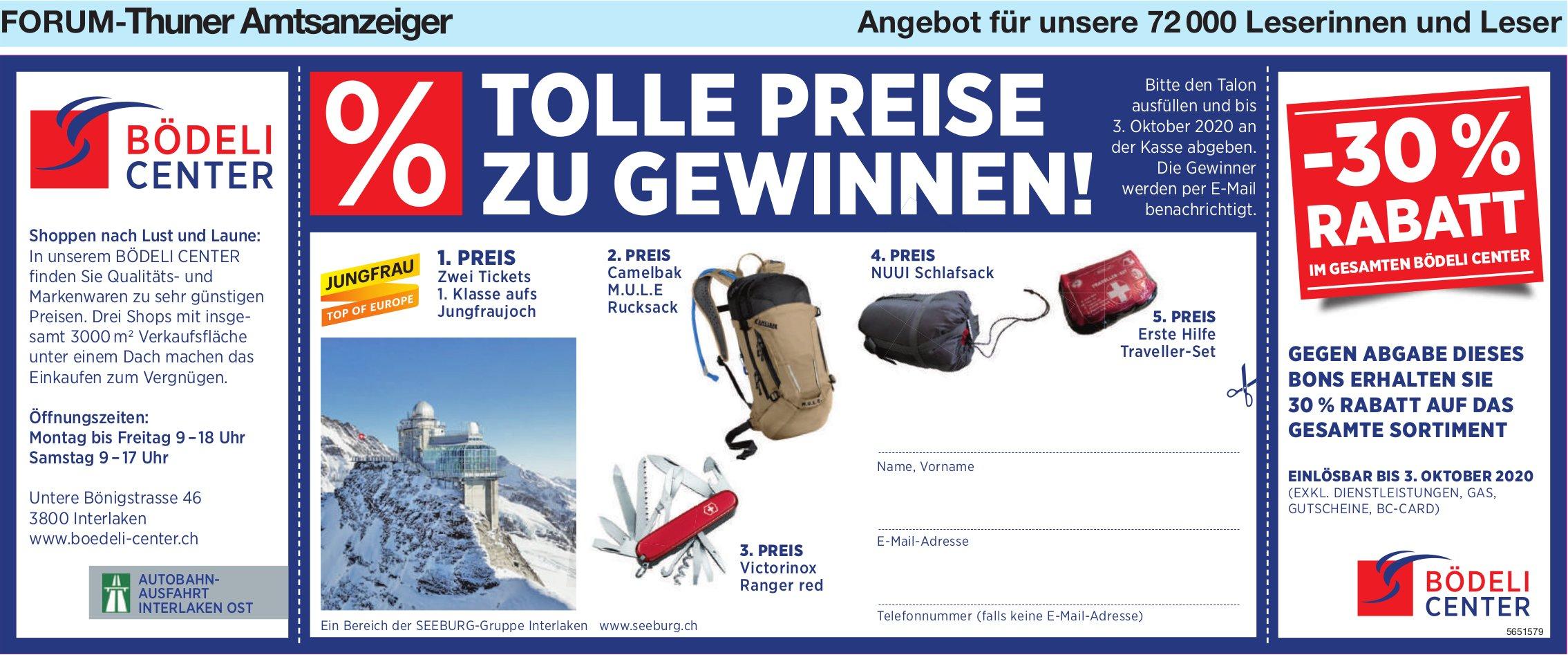 Forum-Thuner Amtsanzeiger - Tolle Preise zu Gewinnen! Bödeli Center