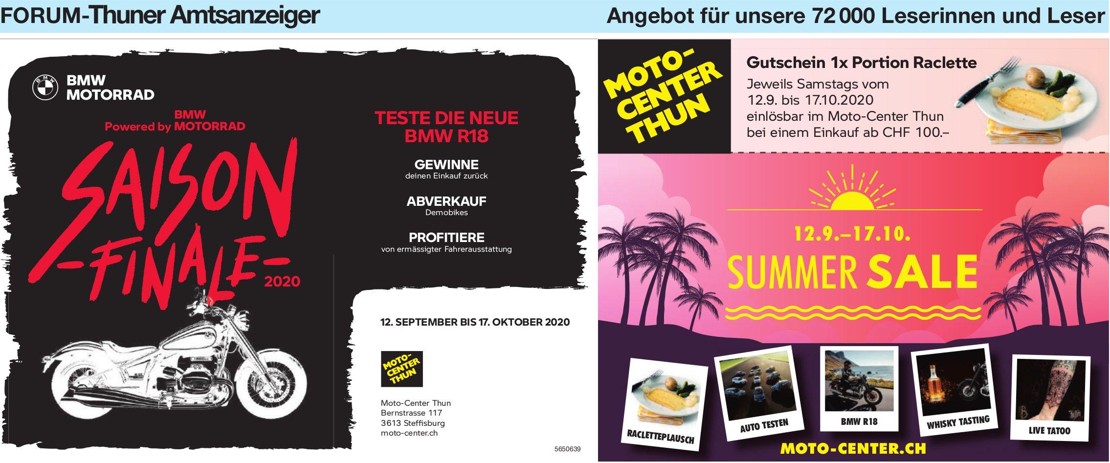 Forum-Thuner Amtsanzeiger - Summer Sale, 12. Sept. bis 17. Okt., Mottocenter Thun, Steffisburg