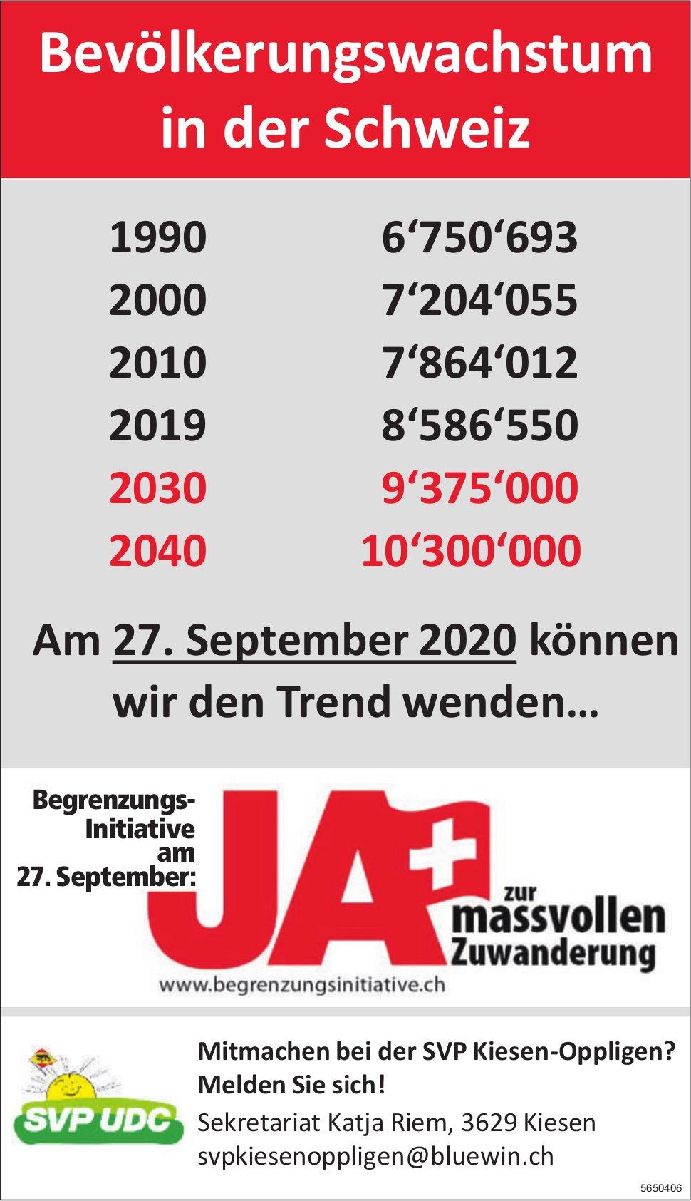 Ja zur massvollen Zuwanderung -  Bevölkerungswachstum in der Schweiz