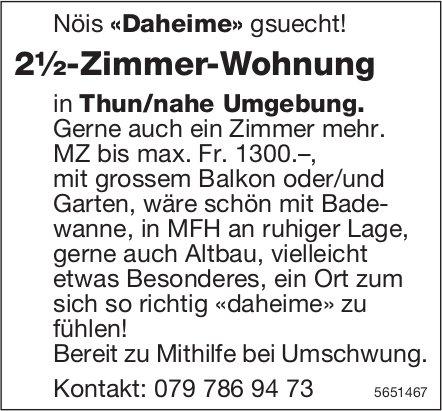 2½-Zimmer-Wohnung in Thun/nahe Umgebung, zu mieten gesucht