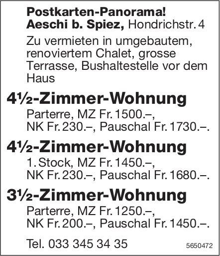 3.5- und 4.5 Zimmer-Wohnungen, Aeschi b. Spiez, zu vermieten