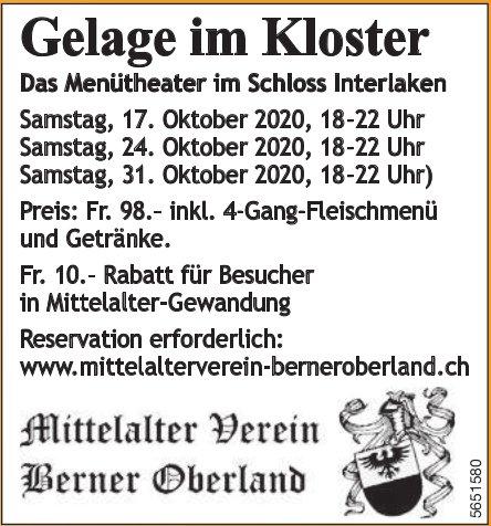 Gelage im Kloster: Das Menütheater im Schloss Interlaken, 17. - 31. Oktober, Mittelalter Verein Berner Oberland