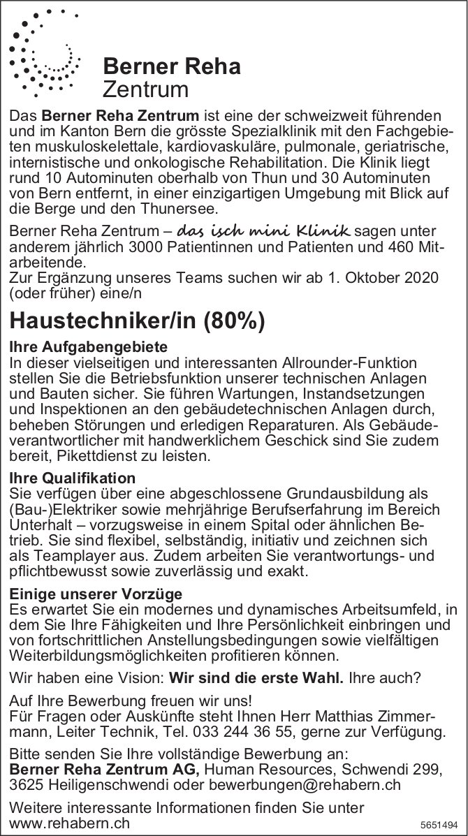 Haustechniker/in (80%), Berner Reha Zentrum AG, Heiligenschwendi, gesucht
