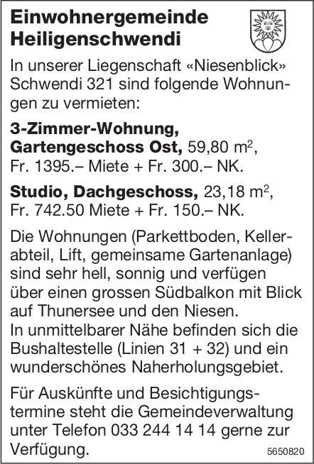 3-Zimmer-Wohnung + Studio,  Dachgeschoss, Heiligenschwendi, zu vermieten