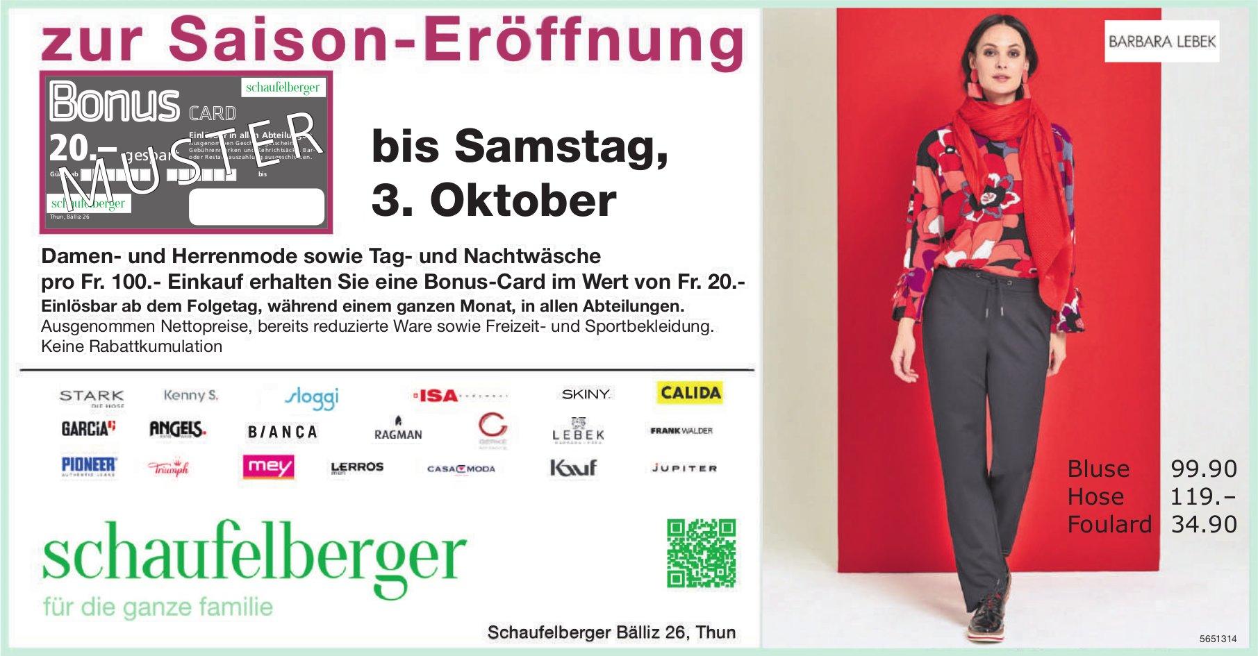 Bonus-Card zur Saison-Eröffnung, bis 3. Oktober, Schaufelberger, Thun