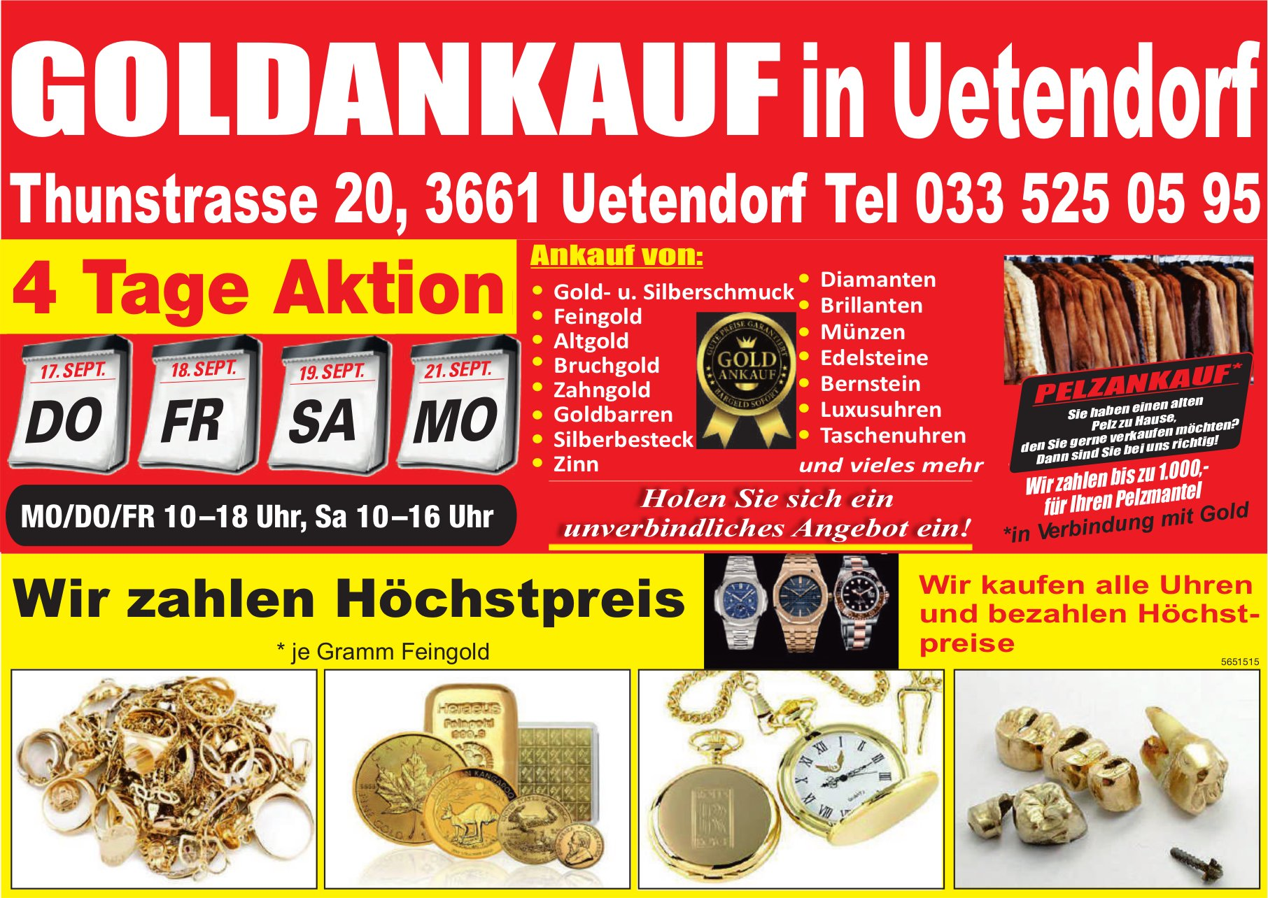 Goldankauf in Uetendorf,  17./18./19./21. September