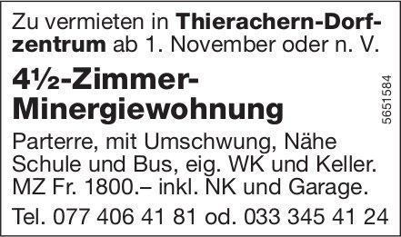 4½ Zimmer-Minergiewohnung, Thierachern-Dorfzentrum, zu vermieten