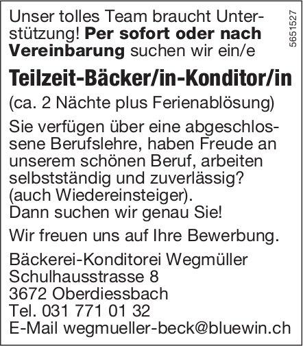 Teilzeit-Bäcker/in-Konditor/in, Bäckerei-Konditorei Wegmüller, Oberdiessbach, gesucht