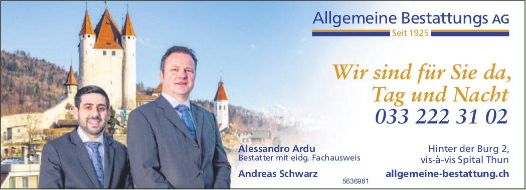 Allgemeine Bestattungs AG, Thun - Wir sind für Sie da, Tag und Nacht