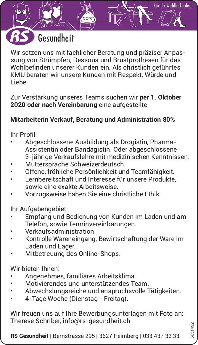 Mitarbeiterin Verkauf,  Beratung und Administration 80%, RS Gesundheit, Heimberg, gesucht