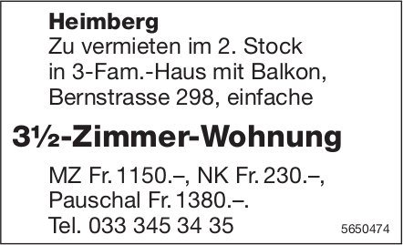 3½ Zimmer-Wohnung, Heimberg, zu vermieten