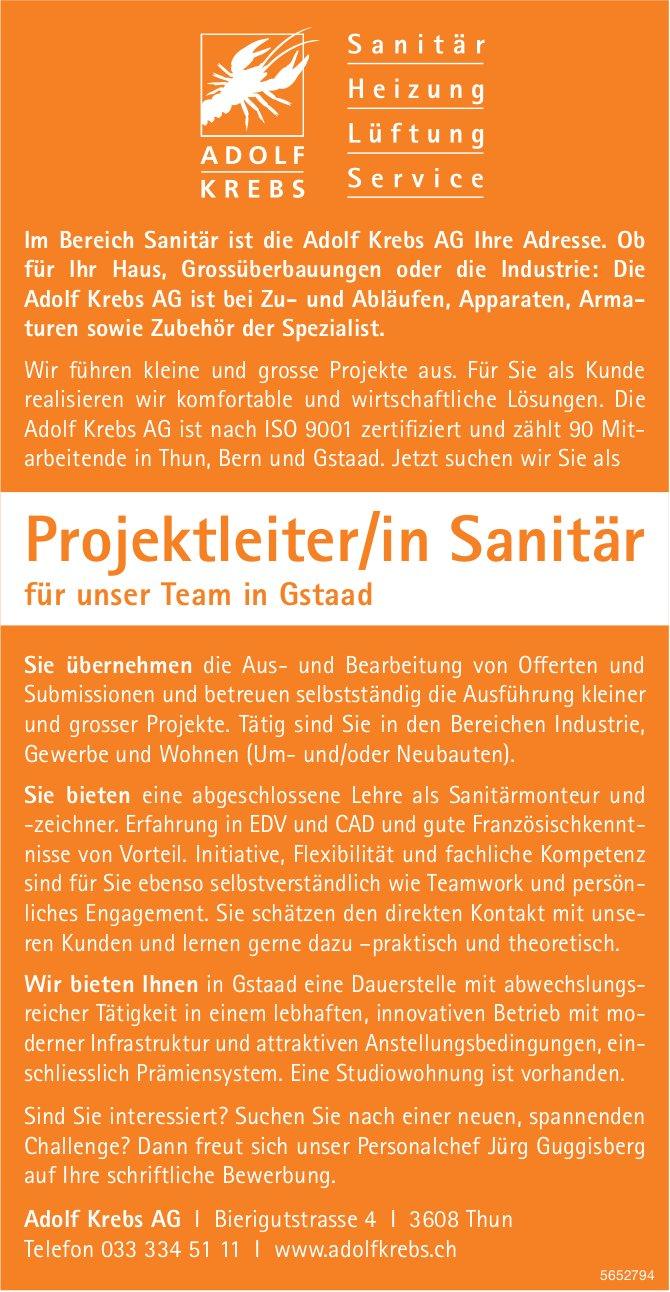 Projektleiter/in Sanitär, Adolf Krebs AG, Gstaad, gesucht