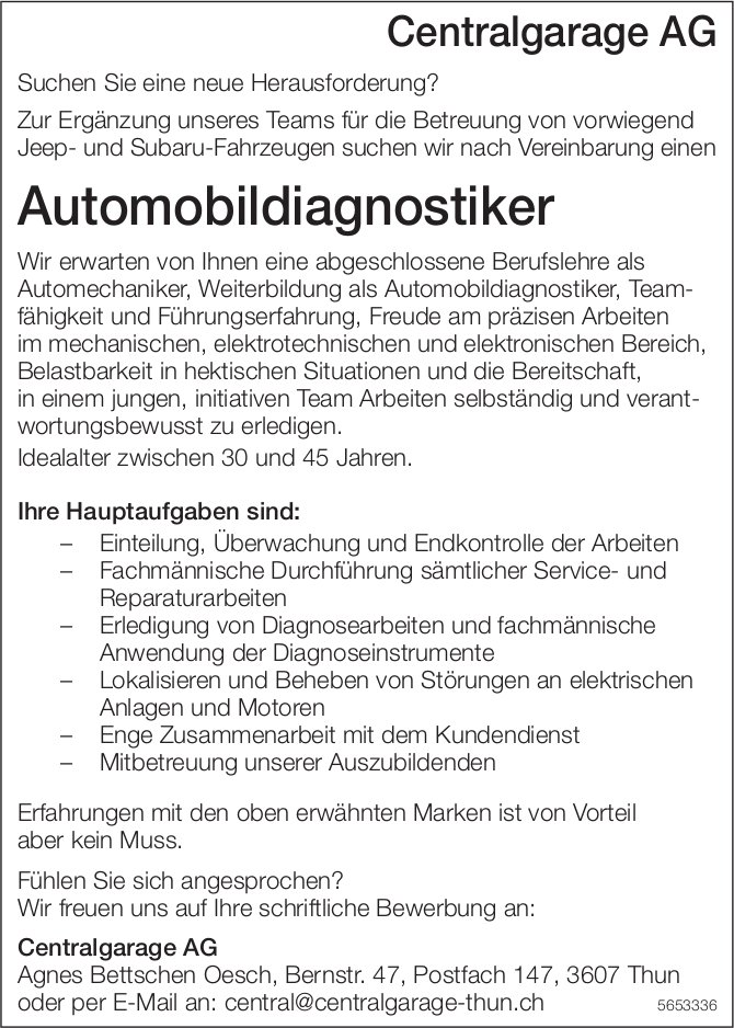 Automobildiagnostiker, Centralgarage AG, Thun, gesucht