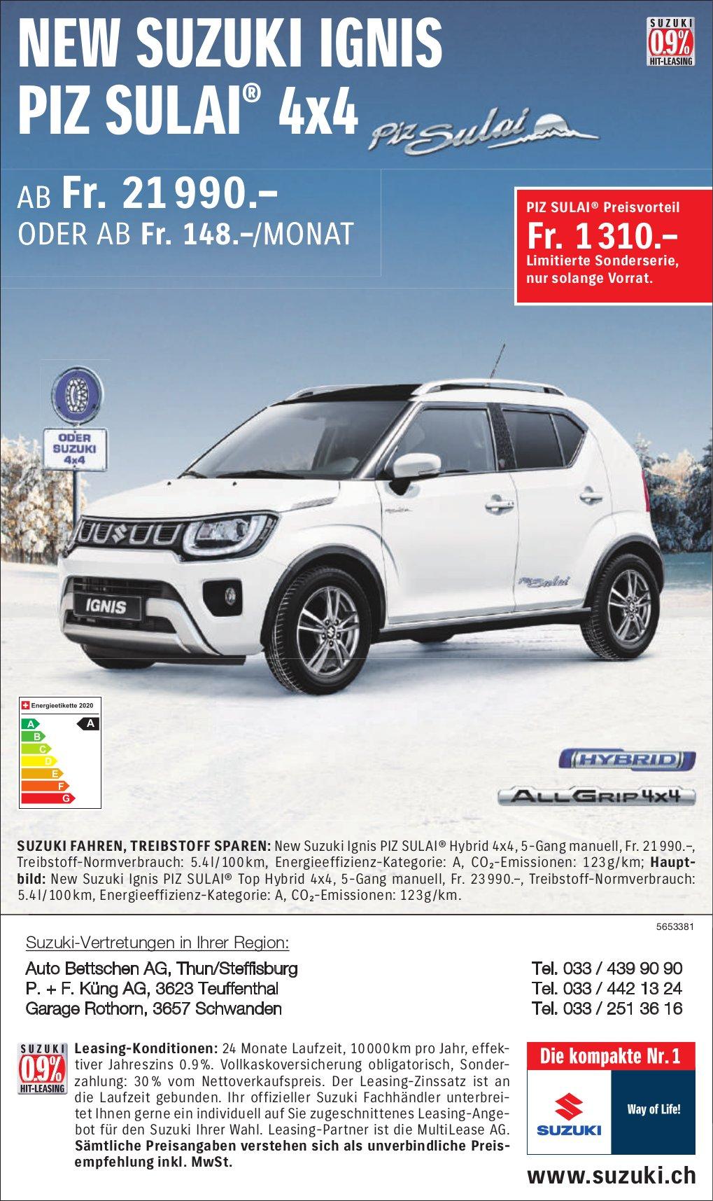 New Suzuki Ignis Piz Sulai® 4x4