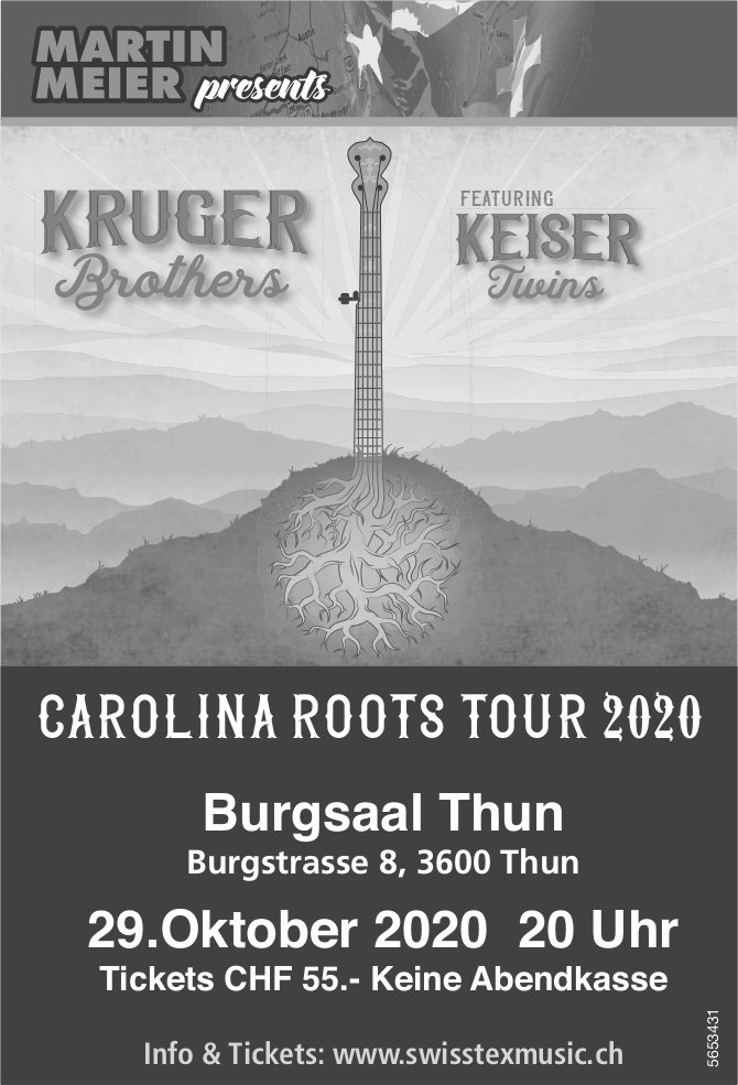 Martin Meier presents Carolina Roots Tour 2020, 29. Oktober, Thun