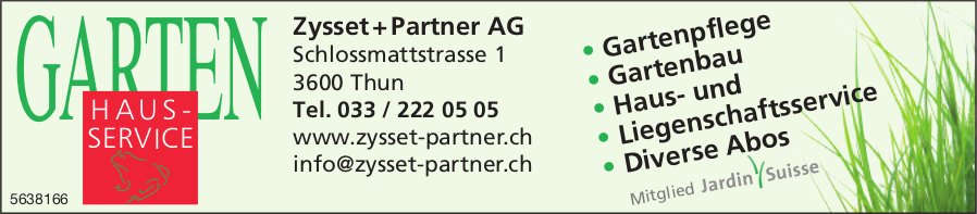 Zysset + Partner AG, Thun - Gartenhaussservice