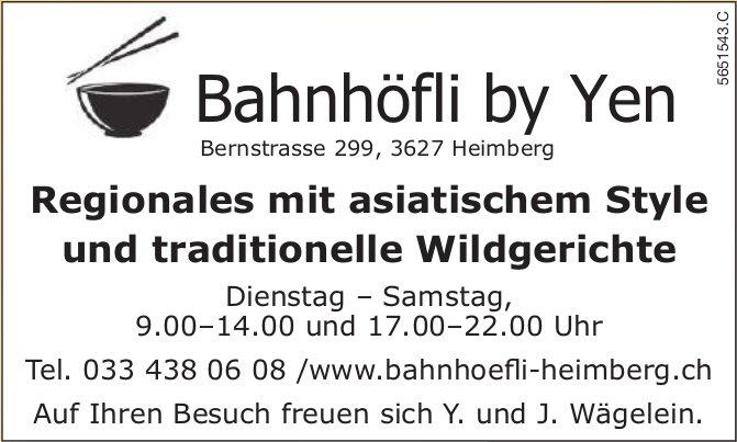 Bahnhöfli by Yen, Heimberg - Regionales mit asiatischem Style und traditionelle Wildgerichte