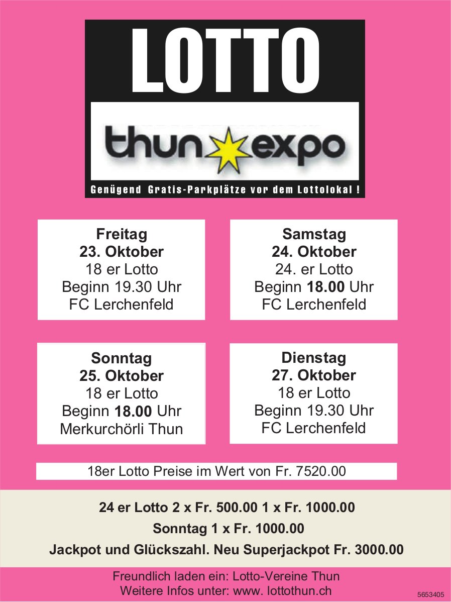 LOTTO Thun Expo, 23./24./25./27. Oktober