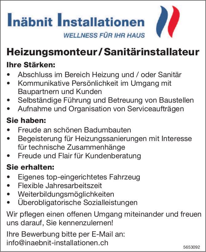 Heizungsmonteur / Sanitärinstallateur, Inäbnit Installationen, gesucht