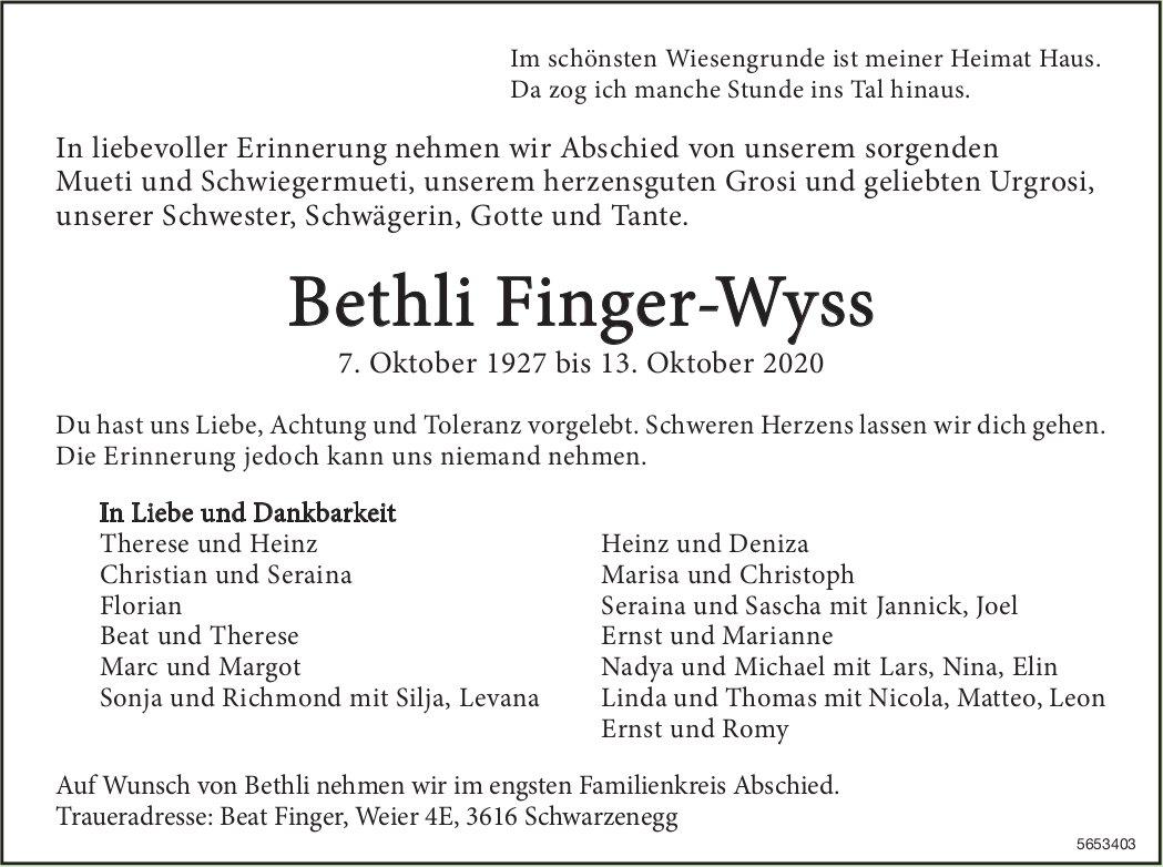 Finger-Wyss Bethli, Oktober 2020 / TA